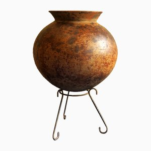 Antique Moroccan Terracotta Oil Pot on Stand, 19th Century
