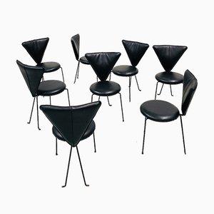 Vintage German Memphis Chair in Black Leather and Steel by Helmut Lübke, 1980s, Set of 8