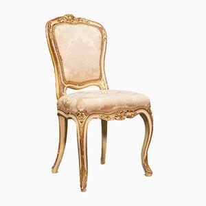 Antiker französischer viktorianischer Boudoir Stuhl aus vergoldetem Holz, 1900