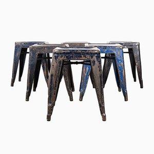 Französische H Metall Esszimmerstühle in Blau von Tolix, 1950er, 6er Set