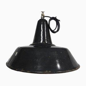 Lámpara industrial de hierro pintado de negro, años 50