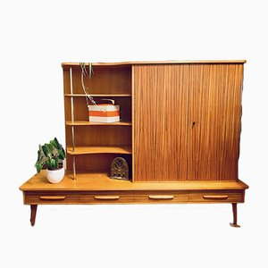 Mid-Century High Sideboard or Bookcase in Zebrano Wood in the Style of WK Moebel