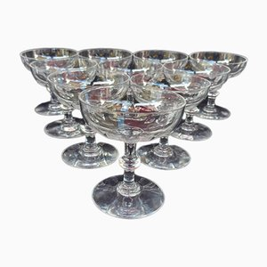 Crystal Champagne Glasses from Baccarat, 1910s, Set of 10