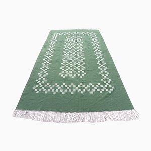 Vintage Handwoven Green Wool Tribal Kilim Rug