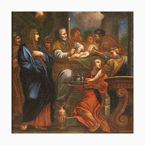 Antikes italienisches Gemälde, Darstellung Jesu im Tempel, 18. Jh