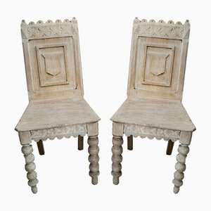 Victorian Bleached Oak Pugin Hall Chairs, Set of 2
