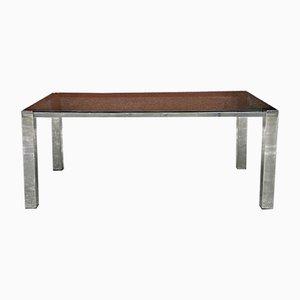 Mid-Century Modern Italian Rectangular Table with Smoked Glass Top, 1970s