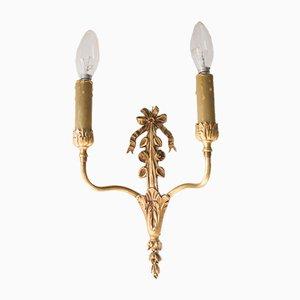 Schwedische Louis XVI Messing Wandlampen, 2er Set