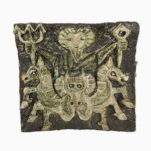 Decoración de pared de cerámica que representa a Neptuno God of the Seas, años 70