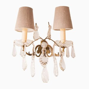 Antique French Crystal Sconces, Set of 2