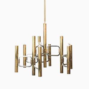 Lustre à 9 Lampes Vintage en Laiton par Gaetano Sciolari, 1970s