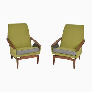 Mid-Century Modern Italian Upholstered Lounge Chairs in Teak in the Style of Gio Ponti, 1950s, Set of 2
