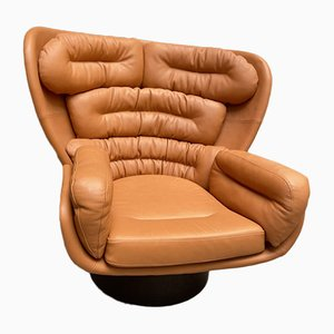Cognacfarbener Elda Armlehnstuhl von Joe Colombo für Comfort Italy, 1969