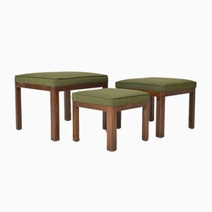 English Art Deco Oak PK 569 Occasional Nesting Stools with Kvadrat Fabric from Parker Knoll, 1930s, Set of 3