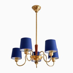 5-Arm Chandelier in Brass with Blue Shades from ASEA, Sweden, 1940s