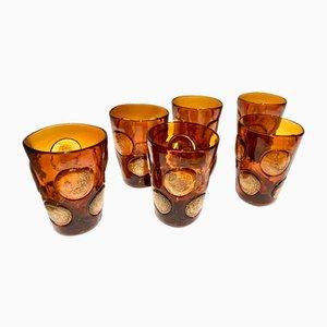 Vasos italianos vintage de cristal de Murano Topazio de Ribes Studio. Juego de 6