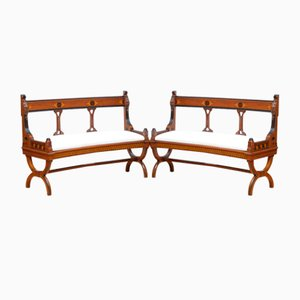 Victorian Curved Walnut and Inlaid Hall Benches, Set of 2