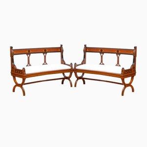 Viktorianische geschwungene Bänke aus Nussholz mit Intarsien, 2er Set