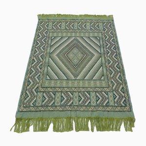 Vintage Rustic Green Wool Berber Kilim Rug Carpet from Berber Weavers