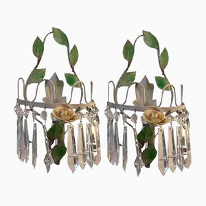 Sconces in Green Lacquered Iron and Crystal, 1970s, Set of 2