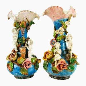 Art Nouveau Vases in Polychrome Ceramic, Set of 2