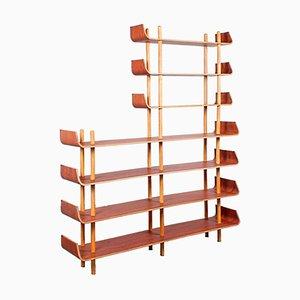 Teak & Plywood Wall Unit by Willem Lutjens for Gouda Den Boer, 1950s