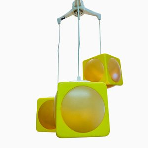 Space Age 3-Piece Cascading Ceiling Lamp in Yellow by Lars Schöler for Hoyrup Lamper, 1970s