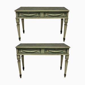 Tables Consoles Antiques Peintes, Suède, Set de 2