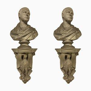 Busto de biblioteca clásico de yeso con soporte. Juego de 2