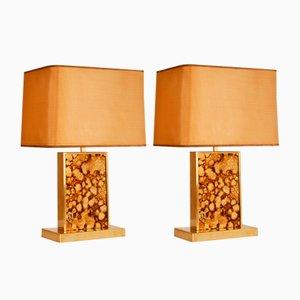 Lámparas de mesa Hollywood Regency Mid-Century de latón dorado y vidrio, años 70. Juego de 2