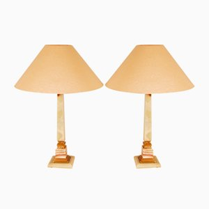 Mid-Century Hollywood Regency Onyx, Alabaster and Gilt Brass Table Lamps by Maison Charles, Set of 2