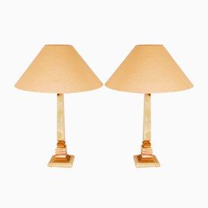 Mid-Century Hollywood Regency Tischlampen aus Onyx, Alabaster & vergoldetem Messing von Maison Charles, 2er Set