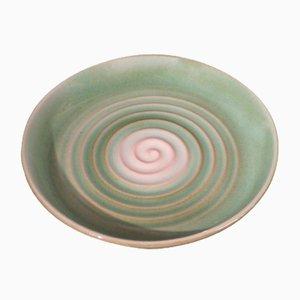 Cuenco Art Déco de cerámica verde de Karlsruhe Majolika