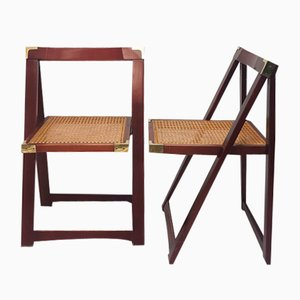 Folding Beech Wood Chairs with Cane Seats, Spain, 1970s, Set of 2