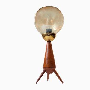 Lámpara de mesa trípode escandinava Mid-Century de teca y vidrio, años 60