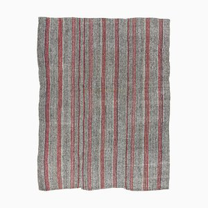 Vintage Turkish Gray Wool and Cotton Kilim Rug with Red Stripes, 1960s
