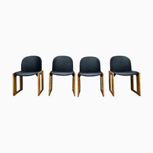 Schwarze Dialogo Esszimmerstühle aus schwarzem Leder & Eschenholz von Afra und Tobia Scarpa für B&B Italia, 1973, 4er Set