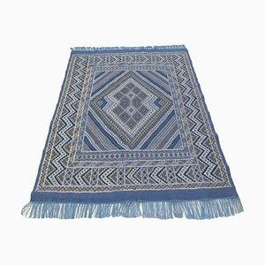 Vintage Berber Handwoven Blue Wool Kilim Rug