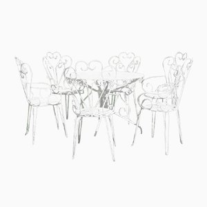 French Garden Table and 6 Chairs, Set of 7
