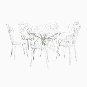 Mesa de jardín francesa y seis sillas. Juego de 7