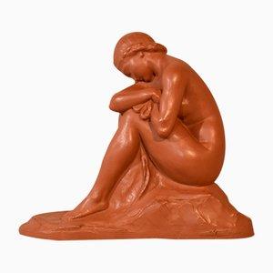 Sculpture de Nu Art Déco en Terracotta, 20ème Siècle