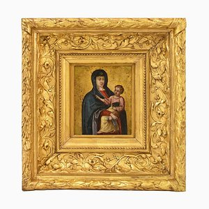 Ancient Painting, Maternity, 17th Century, Religious Oil Painting on Copper