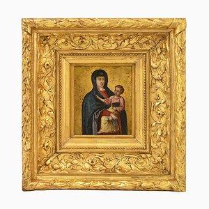 Antikes Gemälde, Mutterschaft, 17. Jh., Religiöses Ölgemälde auf Kupfer