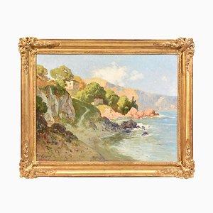 Pintura de paisaje marino, Costa Azzurra, siglo XX, óleo sobre madera