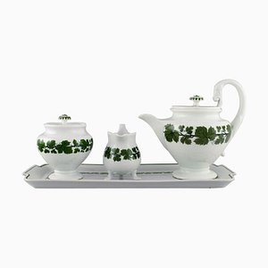 Green Ivy Vine Leaf Teapot, Sugar Bowl, Cream Jug and Serving Tray from Meissen, Set of 4