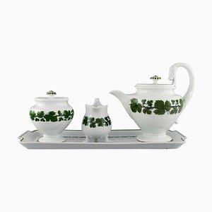 Teiera, zuccheriera, brocca e vassoio Ivy verde di Meissen, set di 4