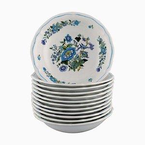 Piatti piccoli in porcellana dipinta a mano di Spode, Inghilterra, set di 12