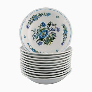 Small Deep Plates in Hand-Painted Porcelain from Spode, England, Set of 12