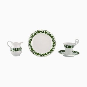 Green Ivy Vine Leaf Egoist Coffee Service in Hand-Painted Porcelain from Meissen, Set of 4