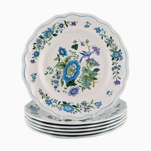Dinner Plates in Hand-Painted Porcelain from Spode, England, 1960s or 1970s, Set of 6